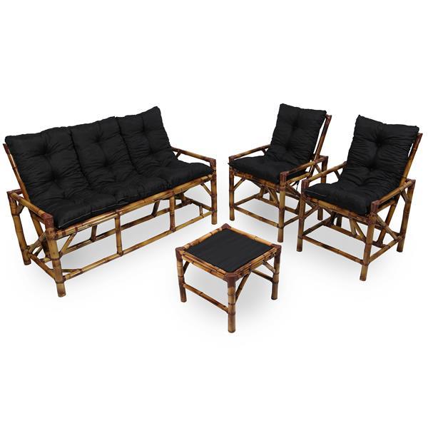 Kit Sofá e Cadeiras de Bambu 5L com Almofadas Preta
