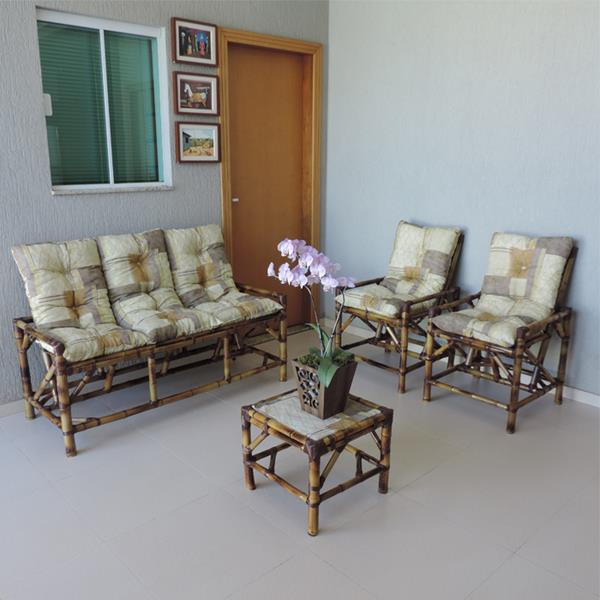 Kit Sofá e Cadeiras de Bambu 5L com Almofadas Retalho Bege