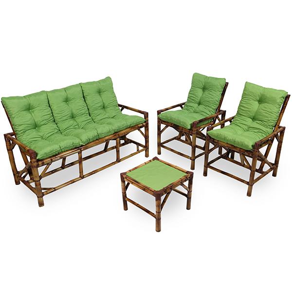 Kit Sofá e Cadeiras de Bambu 5L com Almofadas Verde