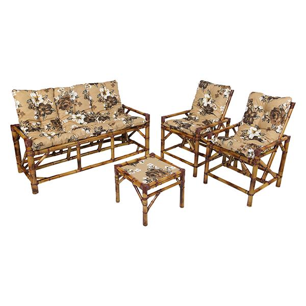 Kit Sofá e Cadeiras de Bambu 5L com Almofadas Zenaide Marrom