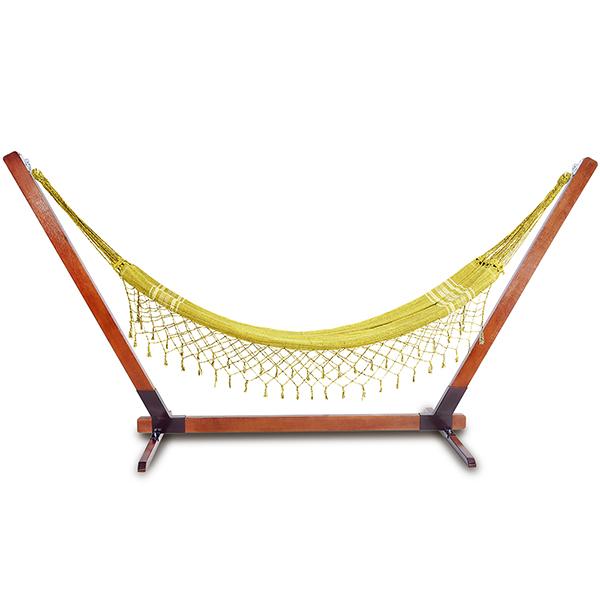 Suporte De Madeira Com Rede de Descanso Amarela