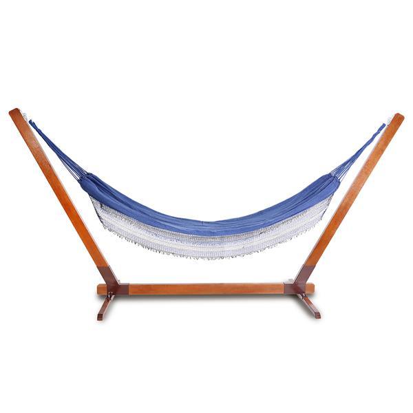 Suporte De Madeira Com Rede de Descanso Azul