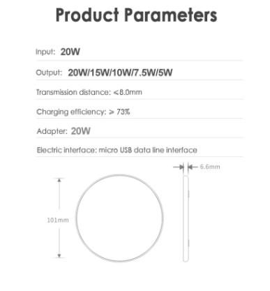 Carregador Sem Fio 20w Indução iPhone Android  - Etiqueta Certa