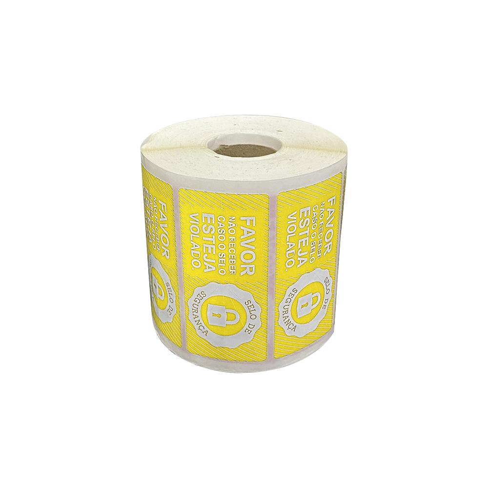 Etiquetas Adesivas Lacre Segurança Delivery iFood Alimentos Amarela  - Etiqueta Certa