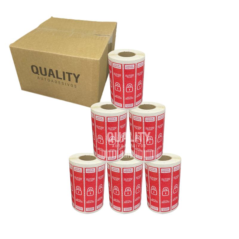 Kit 5000 Etiquetas Lacre Delivery iFood Rappi Vermelha