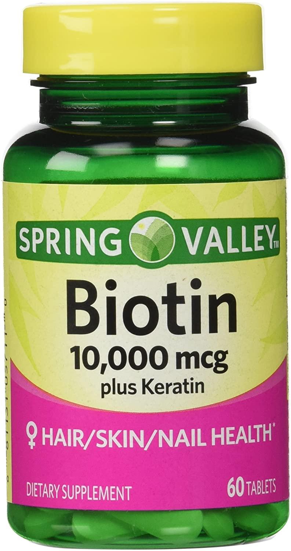 Biotina 10,000mcg  Spring Valley 60 Tablets  - Rei do Wod