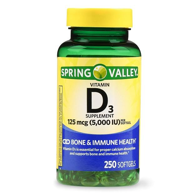 Vitamina D3 125mcg 5,000ui Spring Valley -250 Softgels  - Rei do Wod