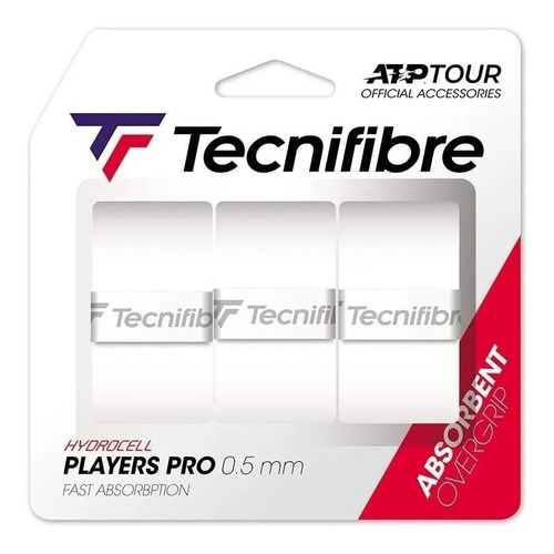 Overgrip Tecnifibre Pro Players Atp - 3 Unidades- Branco