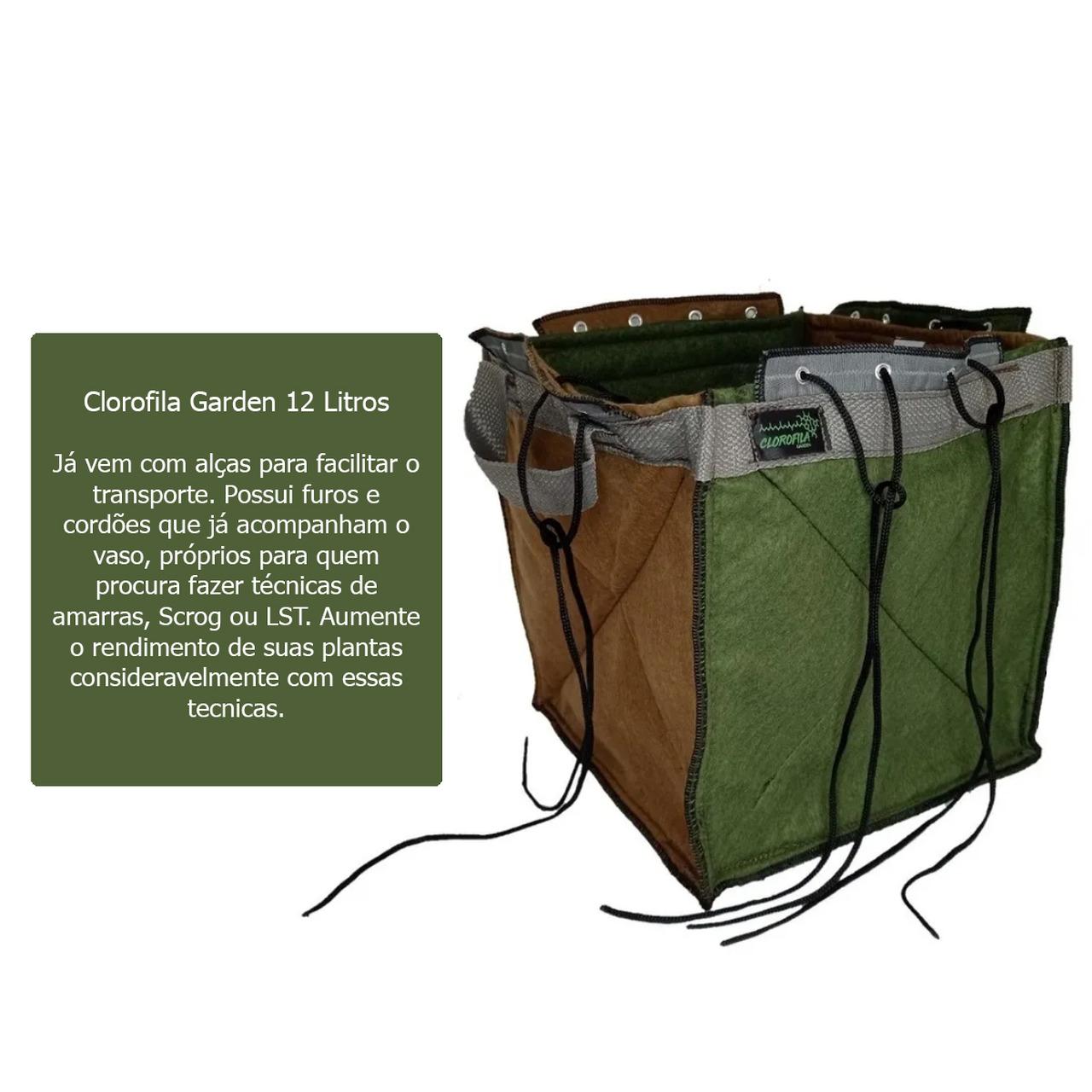 Vaso de Feltro de 12 Litros C/ Alças E Amarras Clorofila Garden