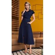 Vestido em Linho Azul Marinho Luzia Fazzolli