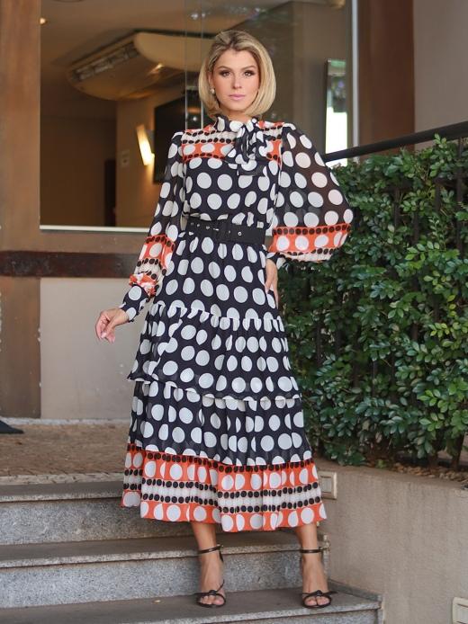 Vestido Chiffon Poá