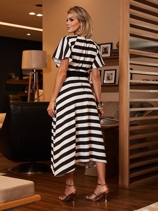 Vestido Crepe Listrado Luzia Fazzolli