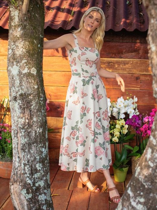 Vestido Linho Floral Luzia Fazzolli