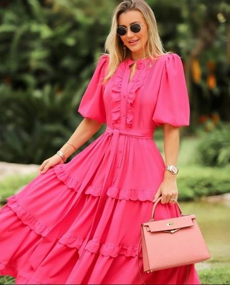 Vestido Midi Crepe Rosa Escuro Luzia Fazzolli