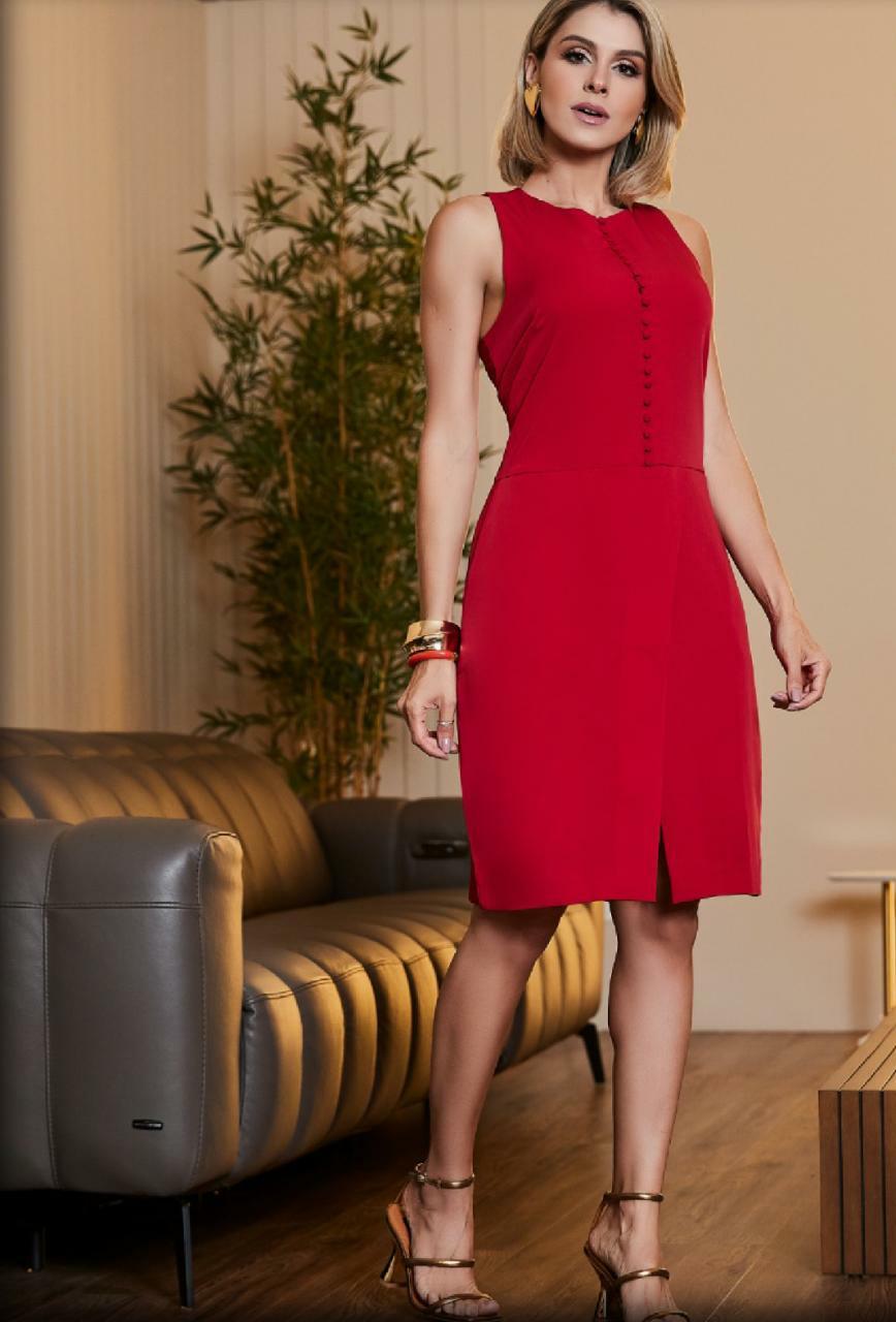 Vestido Vermelho Alfaiataria Luzia Fazzolli