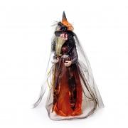Boneco Bruxa com Vassoura Laranja e Preta - Cromus