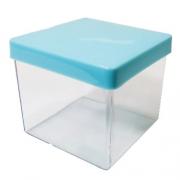 Caixa Acrílica Transparente com Tampa Azul Claro 4x4cm - Mirandinha