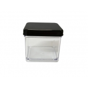 Caixa Acrílica Transparente com Tampa Preta 4x4cm - Mirandinha