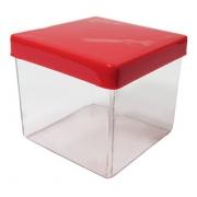 Caixa Acrílica Transparente com Tampa Vermelha 4x4cm - Mirandinha