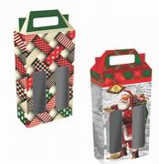 Caixa p/2 Garrafas Natal (Modelos Sortidos) - Mf Embalagens