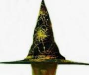 Chapéu de Bruxa Pontudo Teia De Aranha Dourado - YDH