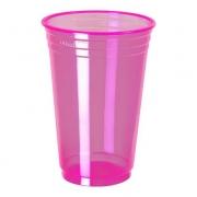 Copo Plástico Balada Neon Rosa 300ml c/25 - Copobras