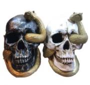 Crânio Decorativo Cobra com Luz Cor Preta - Matsumoto