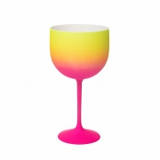 Taça Gin Shelby Fantasy Rosa e Amarelo 500ml - Neoplas