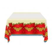 Toalha De Mesa Plástica Mulher Maravilha 1,20m X 1,80m - Festcolor
