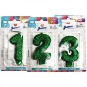 Vela de Aniversário com Glitter Verde - Junco