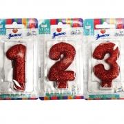 Vela de Aniversário com Glitter Vermelho - Junco
