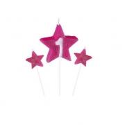 Vela de Aniversário New Star Rosa - Curifest