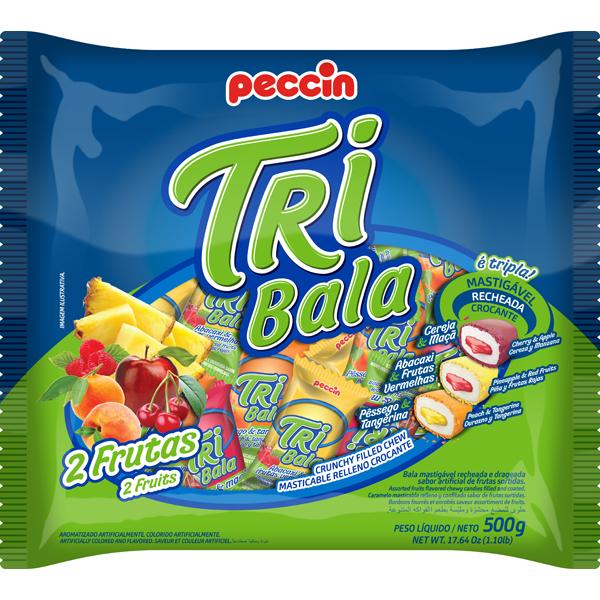 Bala Tribala Recheada 2 Frutas 500g - Peccin