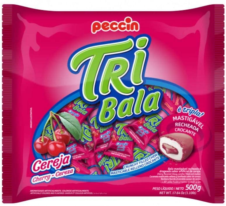 Bala Tribala Recheada Cereja 500g - Peccin