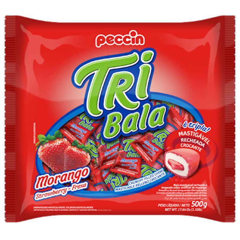 Bala Tribala Recheada Morango 500g - Peccin