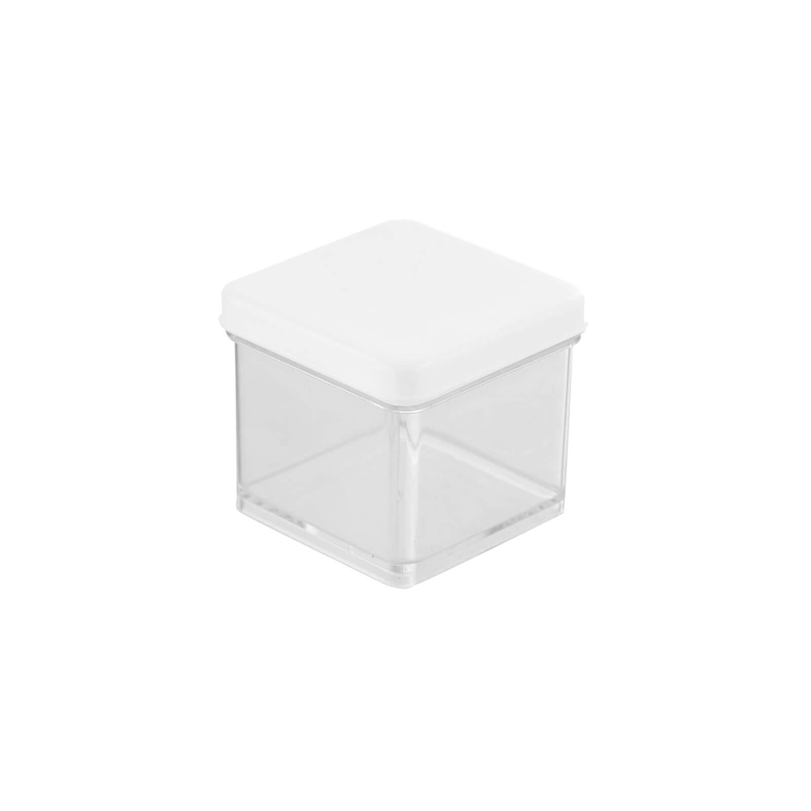 Caixa Acrílica Transparente com Tampa Branca 4x4cm - Mirandinha