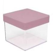 Caixa Acrílica Transparente com Tampa Rosa 4x4cm - Mirandinha