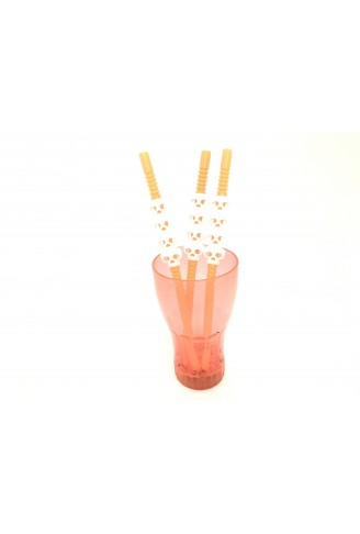 Canudo Plástico Decorativo Caveira/Abóbora Laranja c/5 - YDH