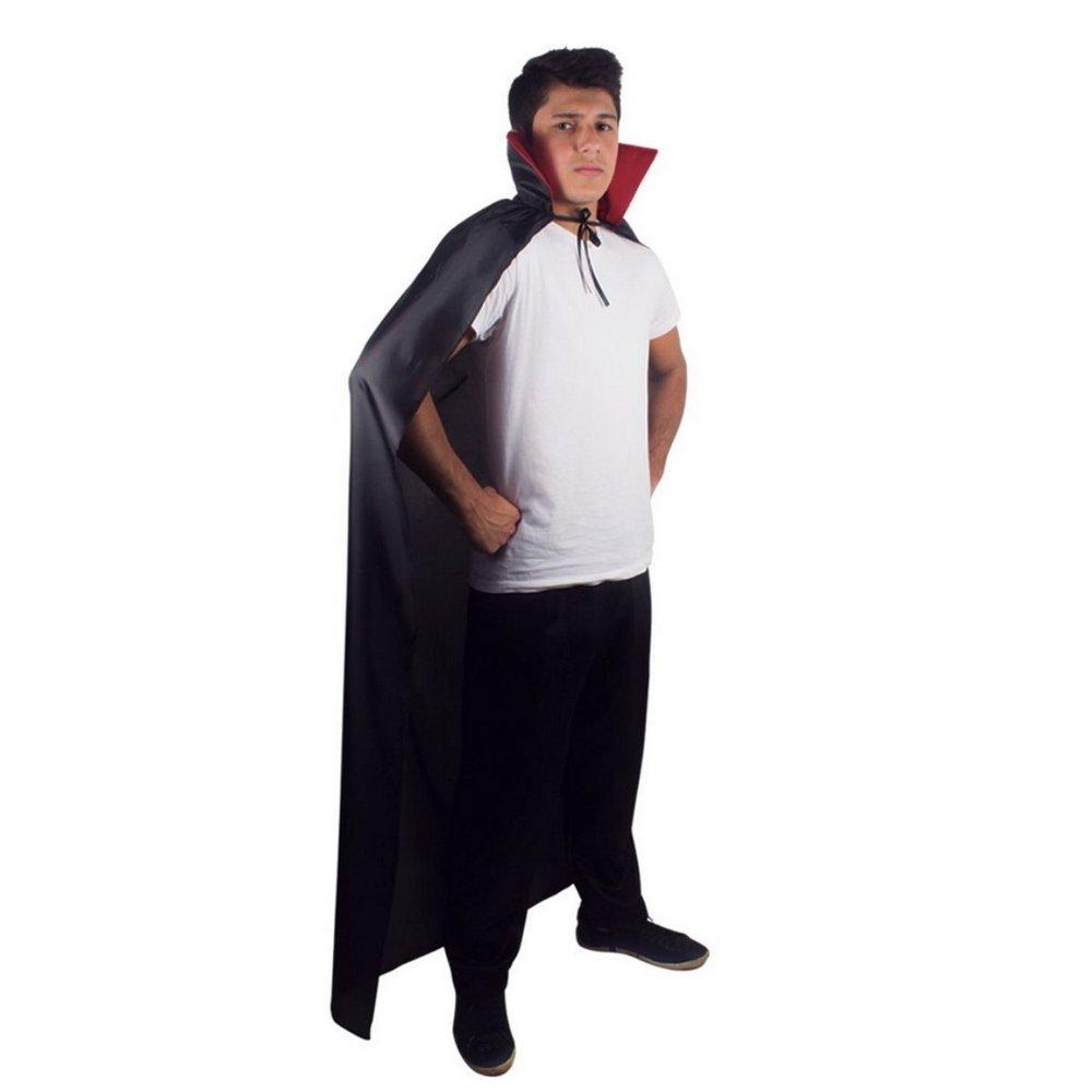 Capa Vampiro Adulto Preta Com Gola Vermelha - YDH