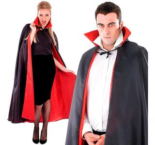 Capa Vampiro Adulto Preta com Gola Vermelha - BPG