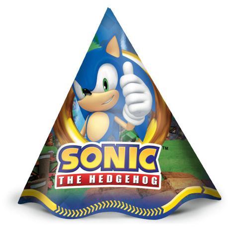 Chapéu de Aniversário Sonic c/12 - Regina