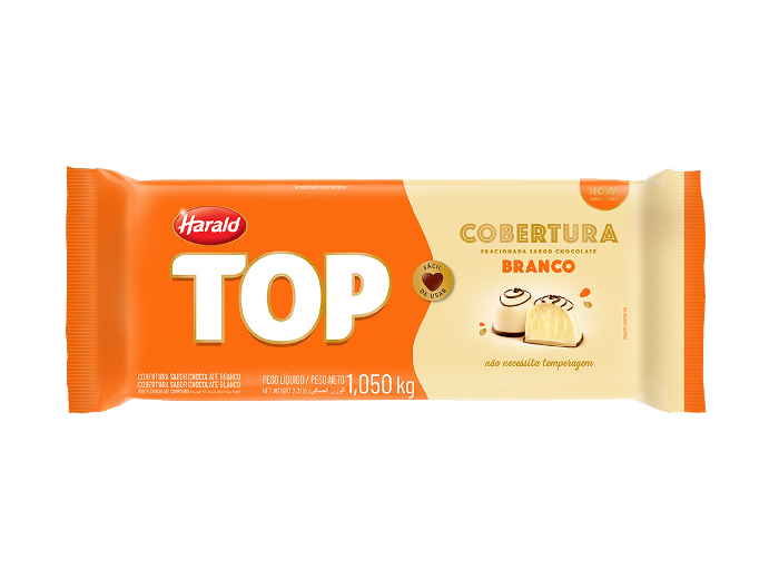 Cobertura chocolate top branco barra harald 1,010kg