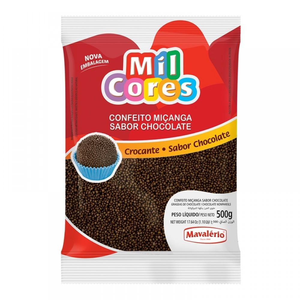 Confeito Miçanga Sabor Chocolate 500g - Mil Cores