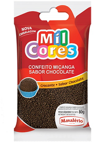 Confeito Miçanga Sabor Chocolate 80g - Mil Cores