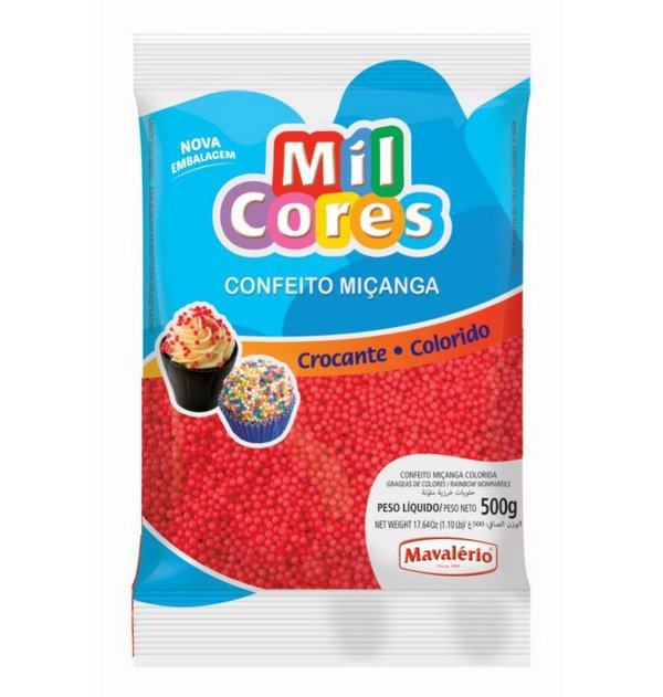 Confeito Miçanga Vermelho 500g - Mil Cores