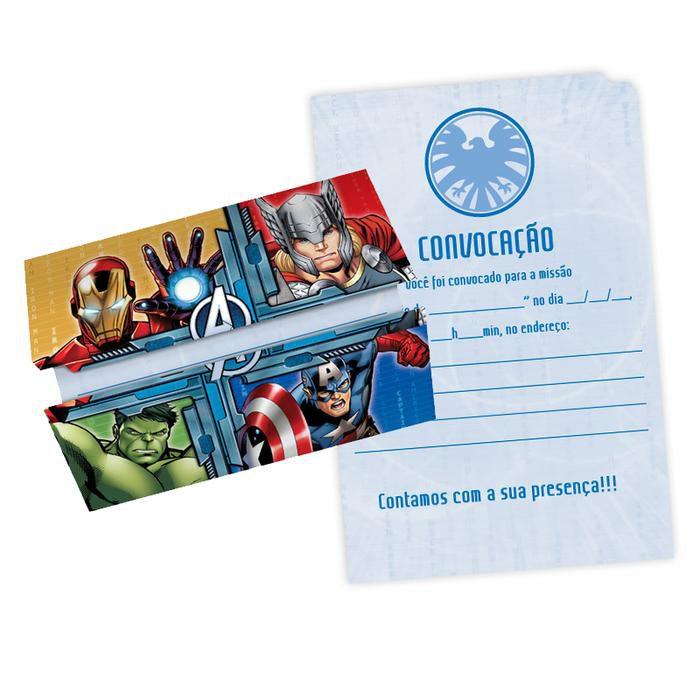 Convite Aniversário Avengers c/8 - Regina