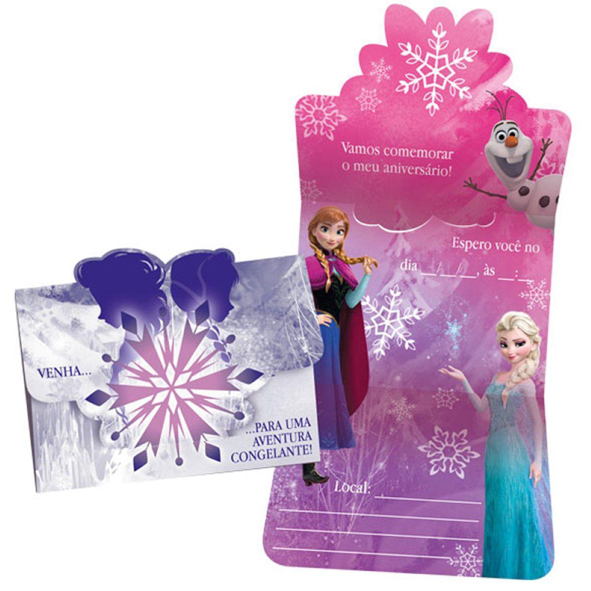 Convite Aniversário Frozen c/8 - Regina