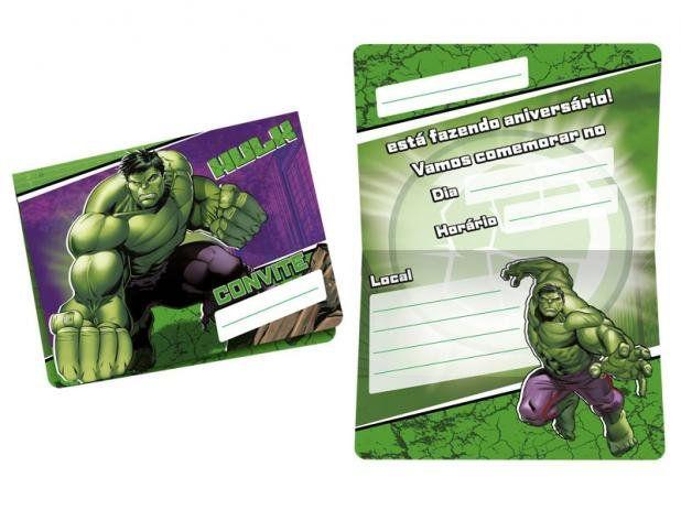 Convite Aniversário Hulk c/12 - Regina