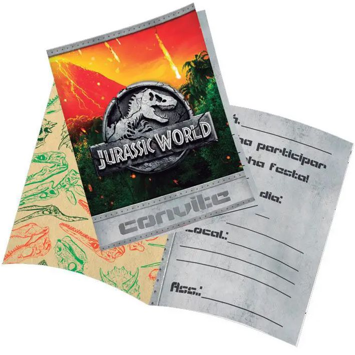 Convite Aniversário Jurassic World c/8 - Festcolor