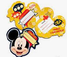 Convite Aniversário Mickey c/8 - Regina